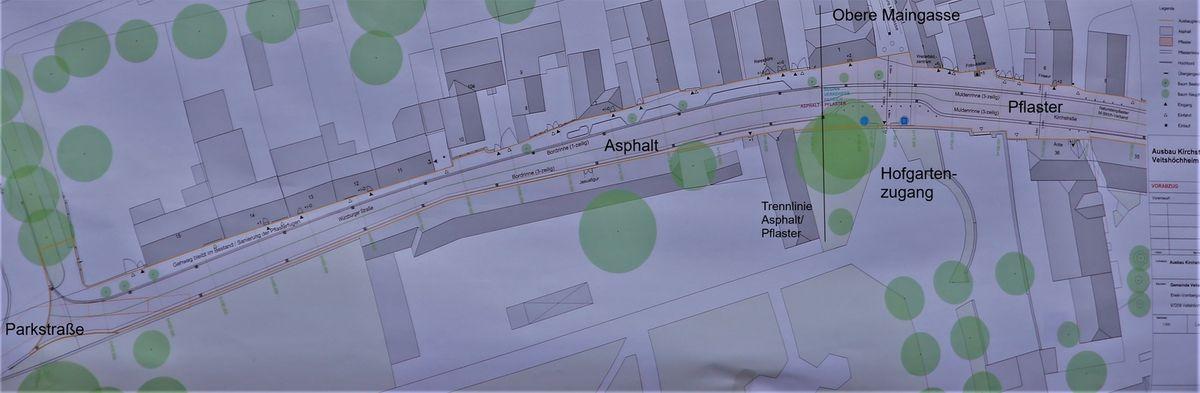 Im Bereich der Würzburger Straße gibt es in Höhe nach dem Hofgarteneingang bis zur Parkstraße einen Belagswechsel auf der Fahrbahn, von Pflaster zu Asphalt. Der Gehweg wird hier jedoch in Pflaster belassen, nur neu ausgefugt. Eine Fahrbahn in Asphalt verursache weniger Rollgeräusche, dafür würden aber die Autos schneller fahren. Anliegerin Irene Schwarz zeigte sich sehr glücklich mit dieser Lösung.  Noch nicht entschieden hat der Gemeinderat, ob dann dieser Bereich wie die übrige Würzburger Straße als Zone 30 ausgewiesen wird.
