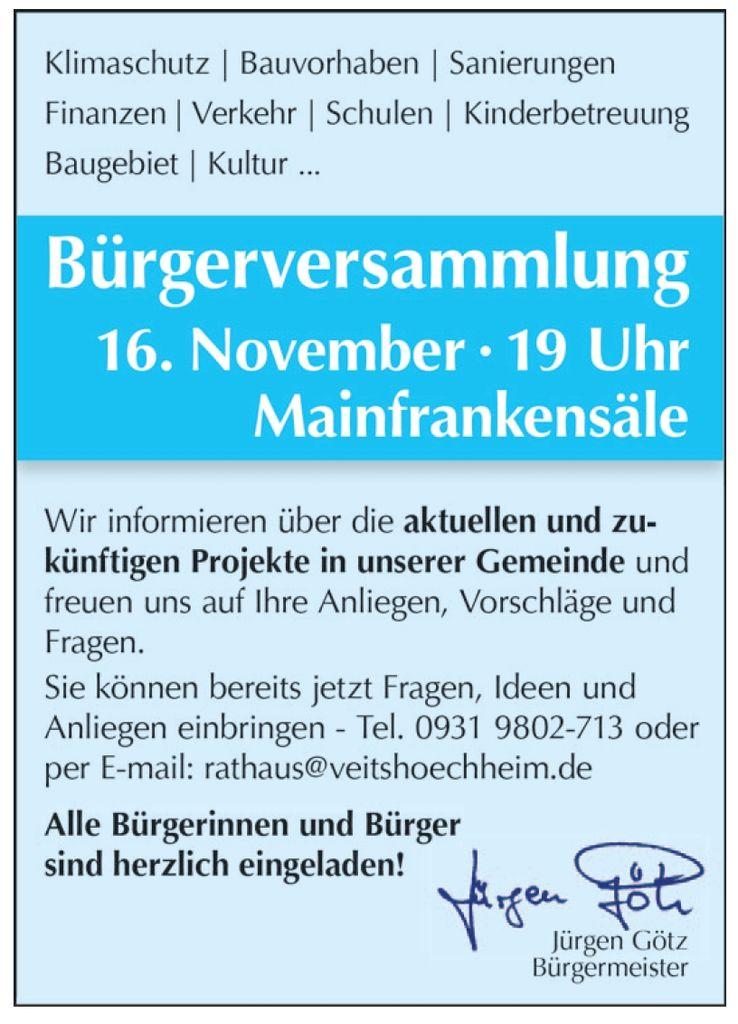 Einladung zur Bürgerversammlung am 16. November