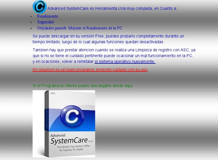 Advanced SytemCare caracteristicas del Programa