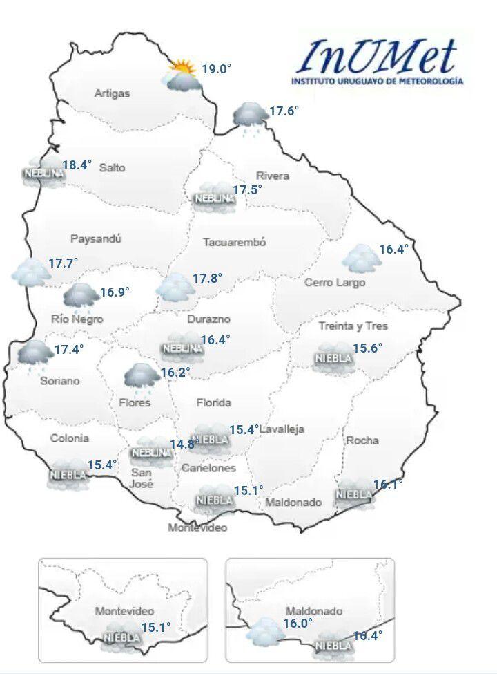 Pronóstico actual neblina y nubosidad, con se extiende pronóstico para los próximos días para Paysandú ; no se registran alertas.