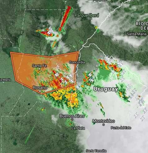 Argentina: Alerta por tormentas fuertes,con rafagas y ocacional caida de granizo