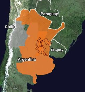 Se encuentran vigentes 8 Alertas en la Republica Argentina por Tormentas de variadas intensidad