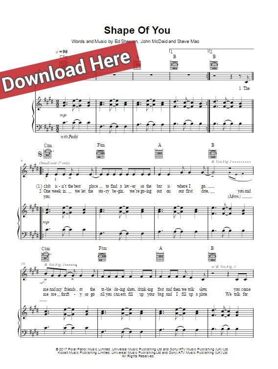 ed sheeran, shape of you, sheet music, piano notes, chords, download, klavier noten, keyboard, guitar, voice, vocals, how to play, learn, tutorial, composition, guide