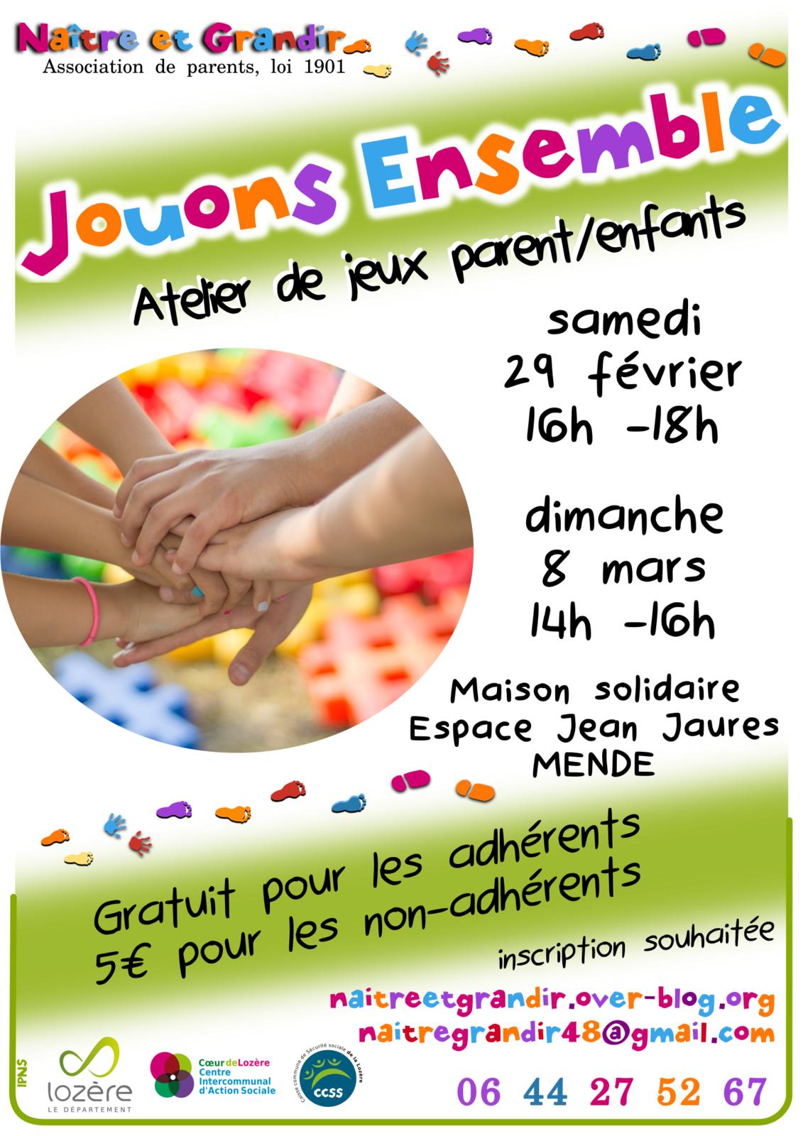"""Prochains Ateliers """"Jouons ensemble"""" à Mende 29 Fév et 8 mars"""