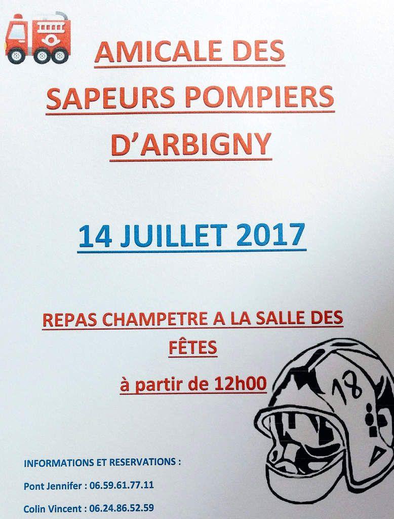 Repas champêtre des sapeurs-pompiers d'Arbigny le 14 juillet.