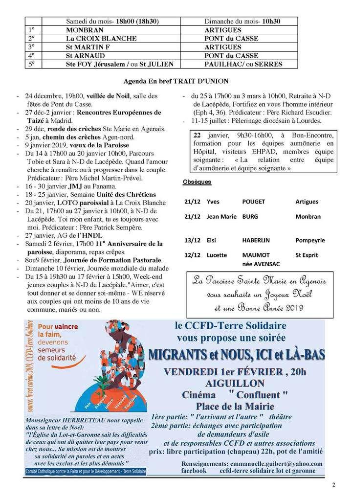TRAIT D'UNION Nr 288 Janvier Février 2019