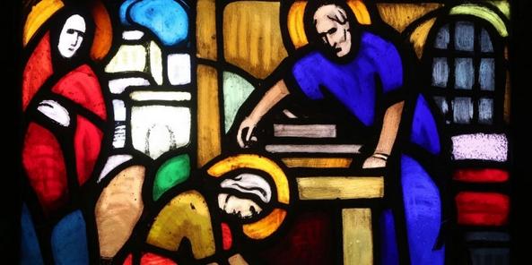 Saint Joseph, le charpentier. Vitrail de l'église saint Paul (Genève)