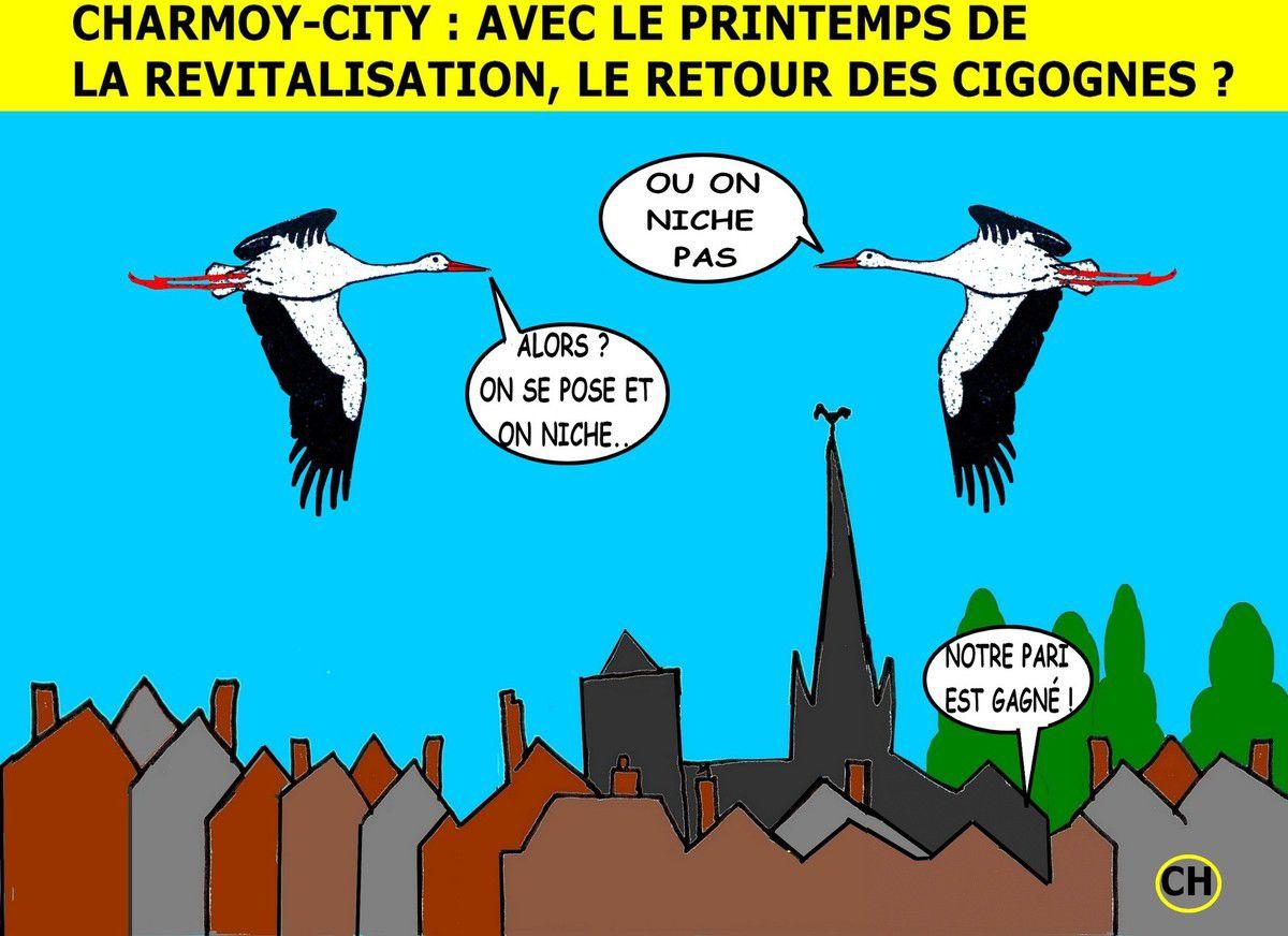 Charmoy-City, avec la revitalisation, le retour des cigognes