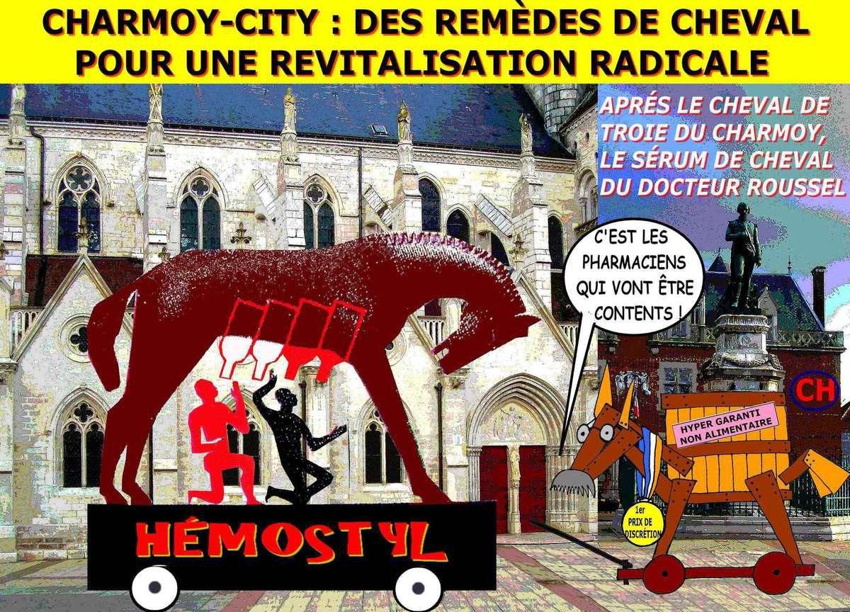 Charmoy-City revitalisation, sérum de cheval et cheval de Troie