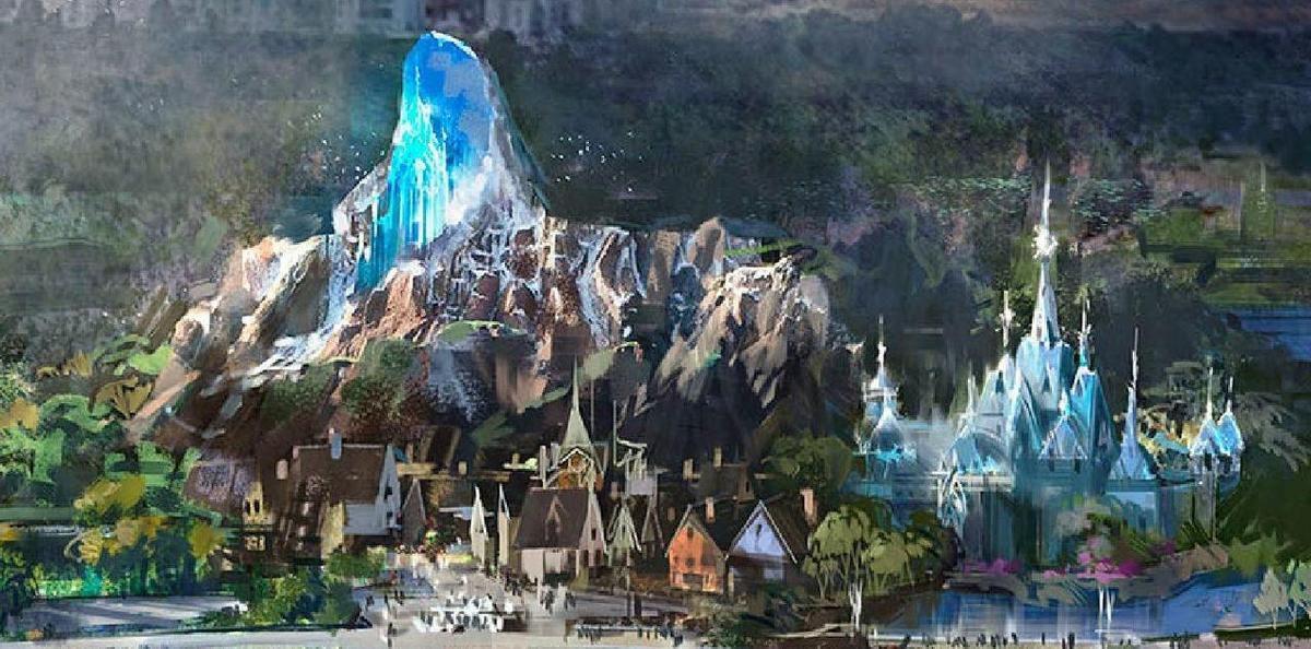 Illustration. L'univers La Reine des neiges, la ville d'Arendelle doit être recréée « avec des attractions. Euro Disney