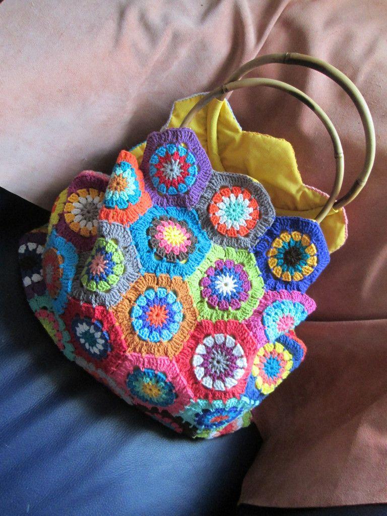 "Sac ""hexagones au crochet"""