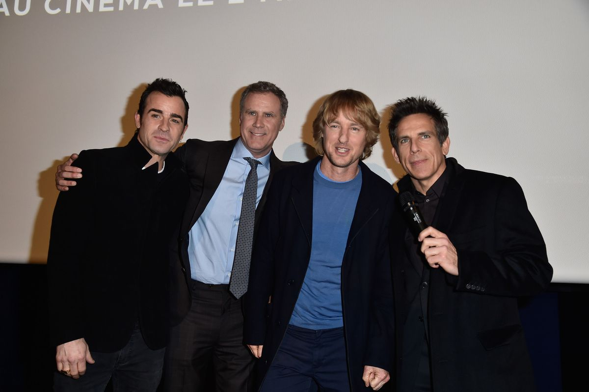 """Justin Theroux,Will Ferrell,Owen Wilson and Ben Stiller attend the VIP Screening of the Paramount Pictures film """"Zoolander No. 2"""" at the Etoile St Germain des Pres Cinema on January 29, 2016 in Paris, France. (Photo by Pascal Le Segretain/Getty Images For Paramount)"""