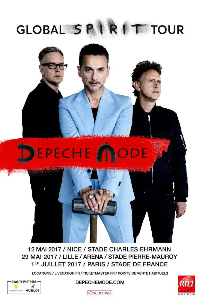 DEPECHE MODE - en Concert en France pour 3 dates exceptionnelles Le 12 Mai 2017 à Nice, le 29 Mai à Lille, le 01 Juillet à Paris