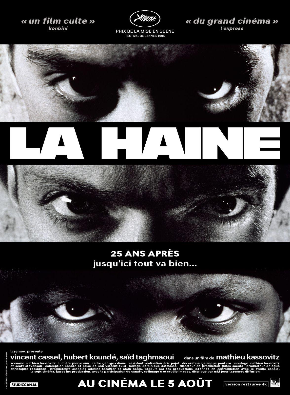 LA HAINE, un film de Mathieu Kassovitz avec Vincent Cassel, Hubert Koundé et Saïd Taghmaoui.fête ses 25 ans !au Cinéma en version restaurée.