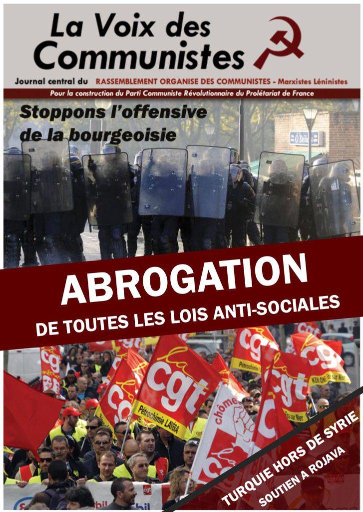 VDC Editorial: ASSEZ DE RECULS Luttons classe contre classe pour l'abrogation des lois anti sociales