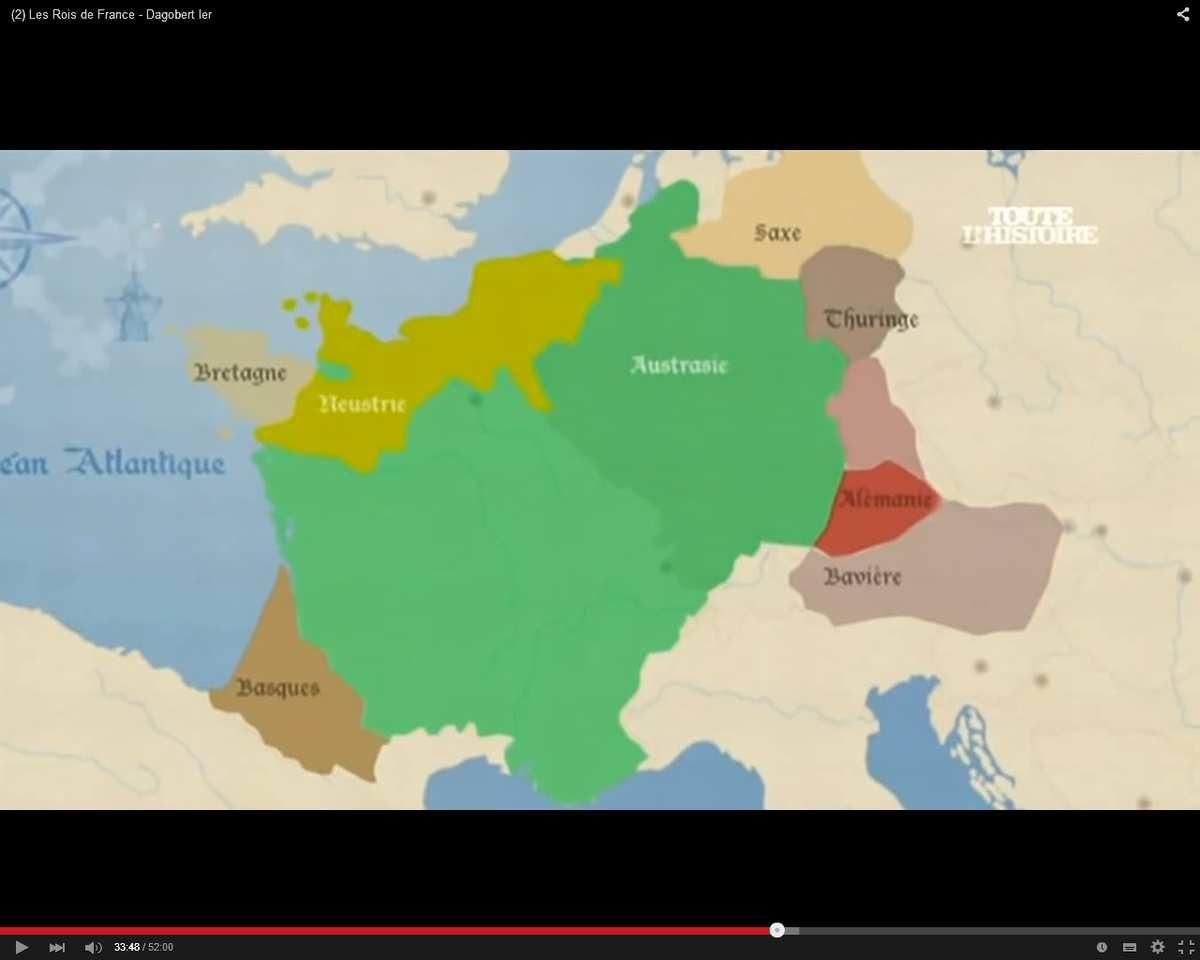 Francie et régions germaniques fédérées sous Dagobert (du nord au sud, Saxe, Thuringe, Alémanie, Bavière)
