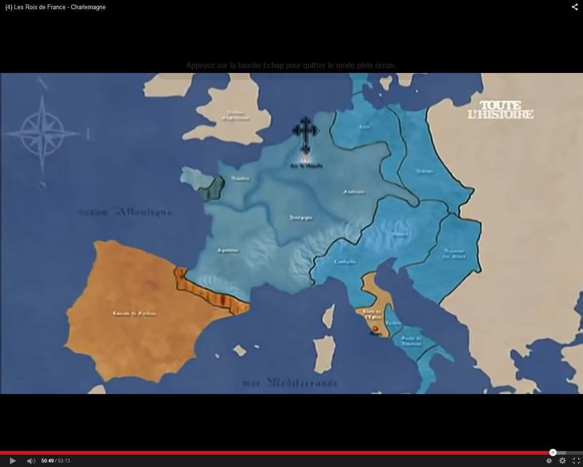 Empire franc en 814 à la mort de Charlemagne