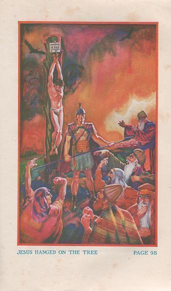 """La """"Watch Tower"""" représente Jésus sur un poteau, avec les mains au-dessus de la tête"""
