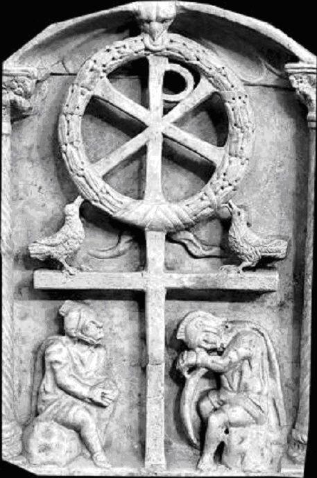 Sarcophage de la Passion Rome fin IVe s - Croix surmontée d'un Labarum ( http://artbiblique.hautetfort.com/archive/2015/02/index.html )