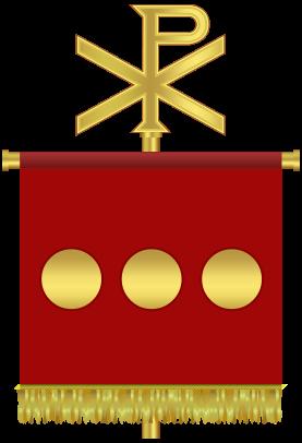 Labarum de Constantin I, surmonté du chrisme remplaçant l'aigle de Jupiter. Le Chrisme forme une croix, pas un poteau.