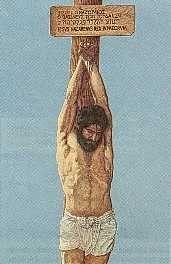 D'après les Témoins de Jéhovah, Jésus ne serait pas mort sur une croix mais cloué à un poteau comme le montre la représentation ci-dessus.