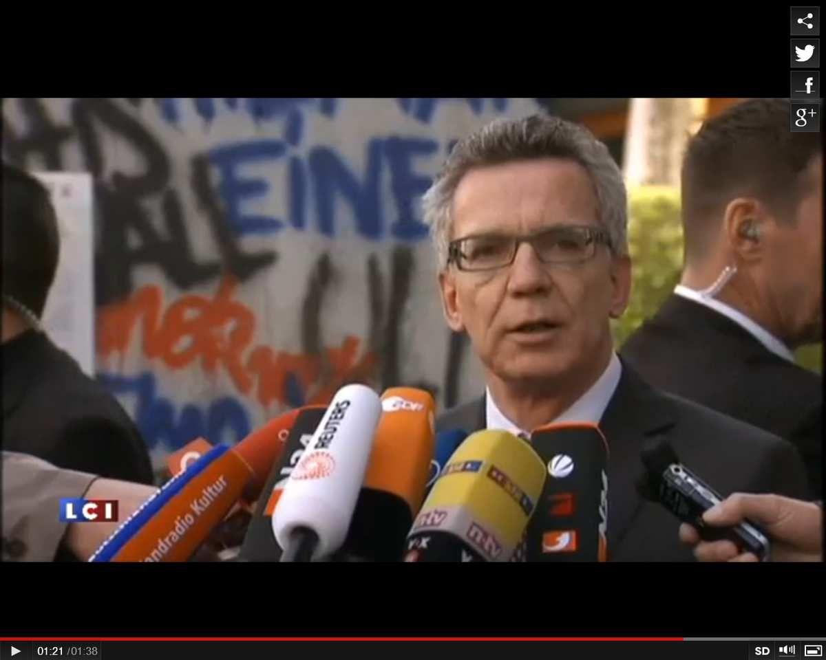 Le ministre allemand de l'Intérieur Thomas de Maiziere [9]
