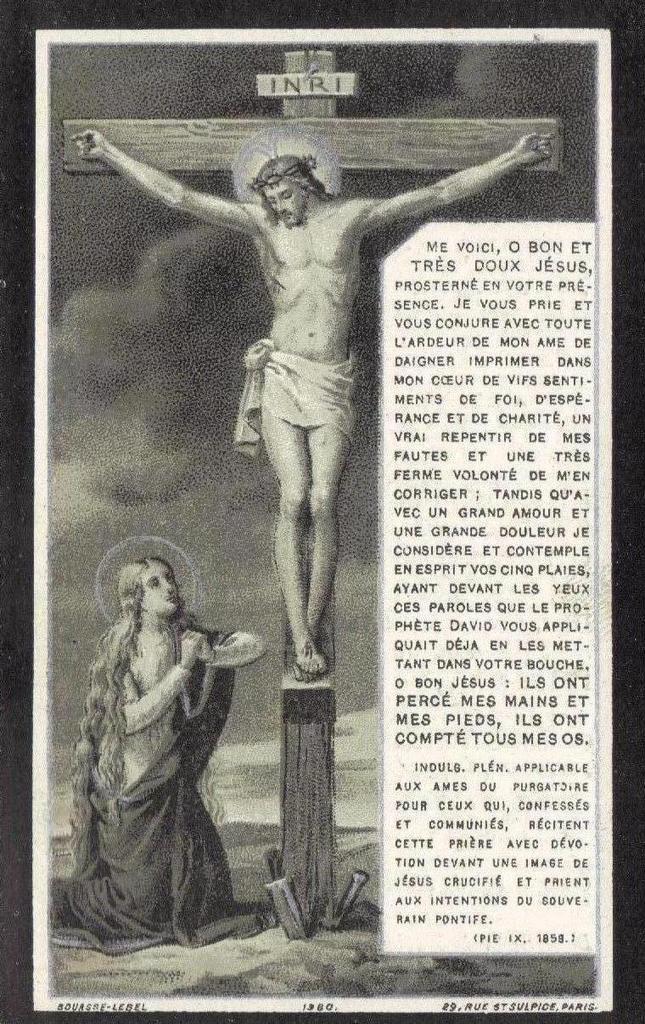 Image pieuse donnée en souvenir de fidèles décédés (1928)
