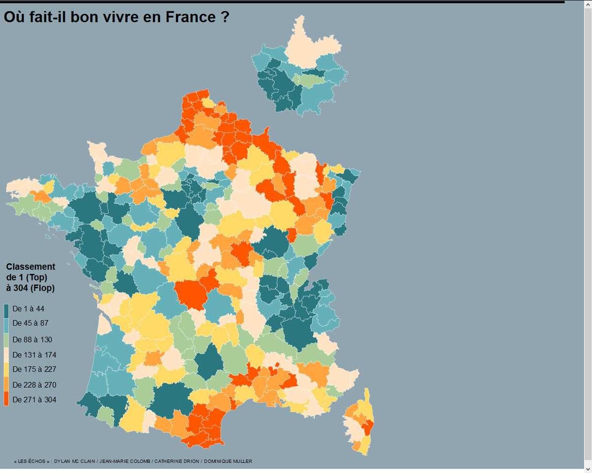 Méthodologie de l'infographie animée  Pour mesurer la qualité de vie en France, « Les Echos » ont utilisé un découpage par zone d'emploi. Définie par l'Insee comme pertinent pour les diagnostics locaux, chaque zone est classée selon neuf critères économiques et sociaux. Une moyenne de ces neuf indicateurs a permis d'établir un classement global qui ressort en couleur sur la carte : les zones près de la Suisse, dans le Grand Sud-ouest et en Bretagne ressortent en turquoise, avec des niveaux de qualité de vie élevés, alors que les régions du Nord, la Côte d'Azur et le Centre, en rouge, s'en sortent mal. http://www.lesechos.fr/politique-societe/regions/021154921859-ou-fait-il-bon-vivre-en-france-1137323.php