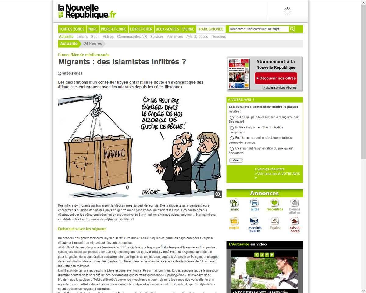 Migrants : des islamistes infiltrés. Source : http://www.lanouvellerepublique.fr/France-Monde/Actualite/24-Heures/n/Contenus/Articles/2015/05/20/Migrants-des-islamistes-infiltres-2334580