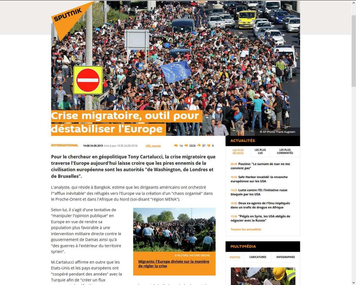 Crise migratoire, outil pour déstabiliser l'Europe