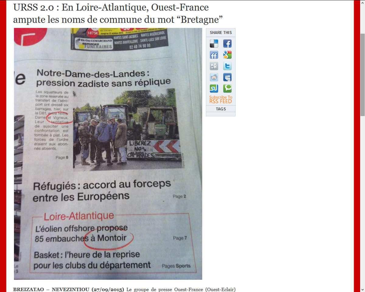 Le groupe de presse Ouest-France ampute les nom de communes du mot Bretagne