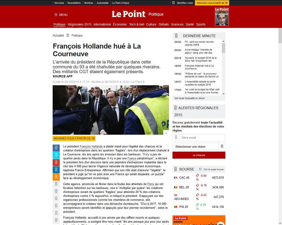 Symbolique: François Hollande hué et sifflé à La Courneuve