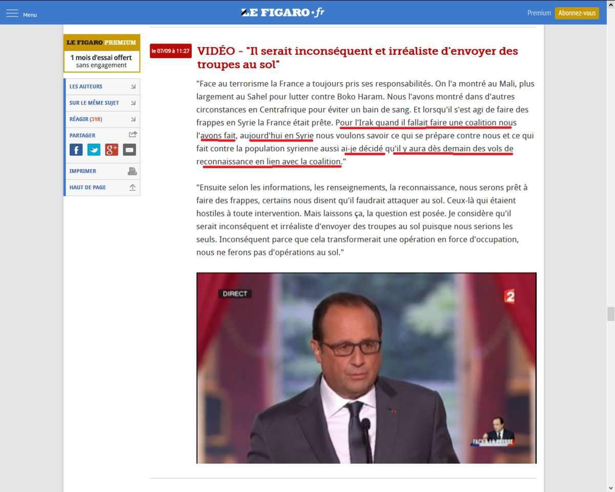 """François Hollande : """"ce n'est pas la France, mais c'est cette organisation terroriste (Daech - l'Etat islamique) qui lui a déclaré la guerre"""""""