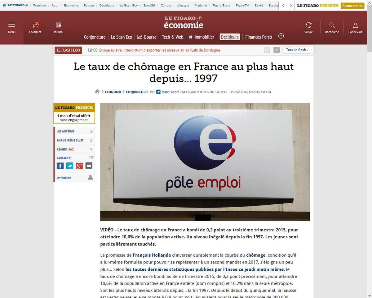 http://www.lefigaro.fr/conjoncture/2015/12/03/20002-20151203ARTFIG00073-le-taux-de-chomage-en-france-au-plus-haut-depuis8230-1997.php