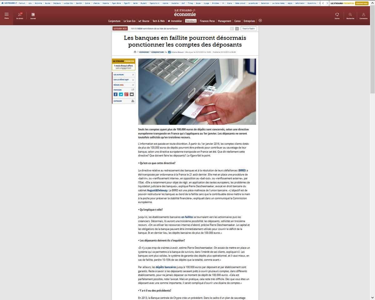 """Hold-up par la """"loi"""" : les banques en faillite pourront désormais ponctionner les comptes des déposants"""