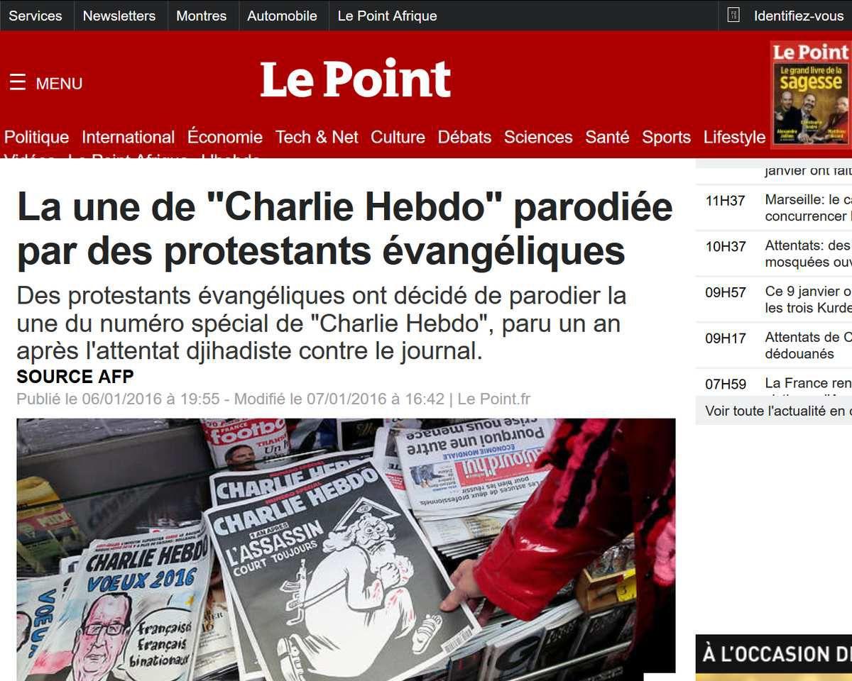"""""""Charlie Hebdo"""" parodié par des protestants évangéliques"""