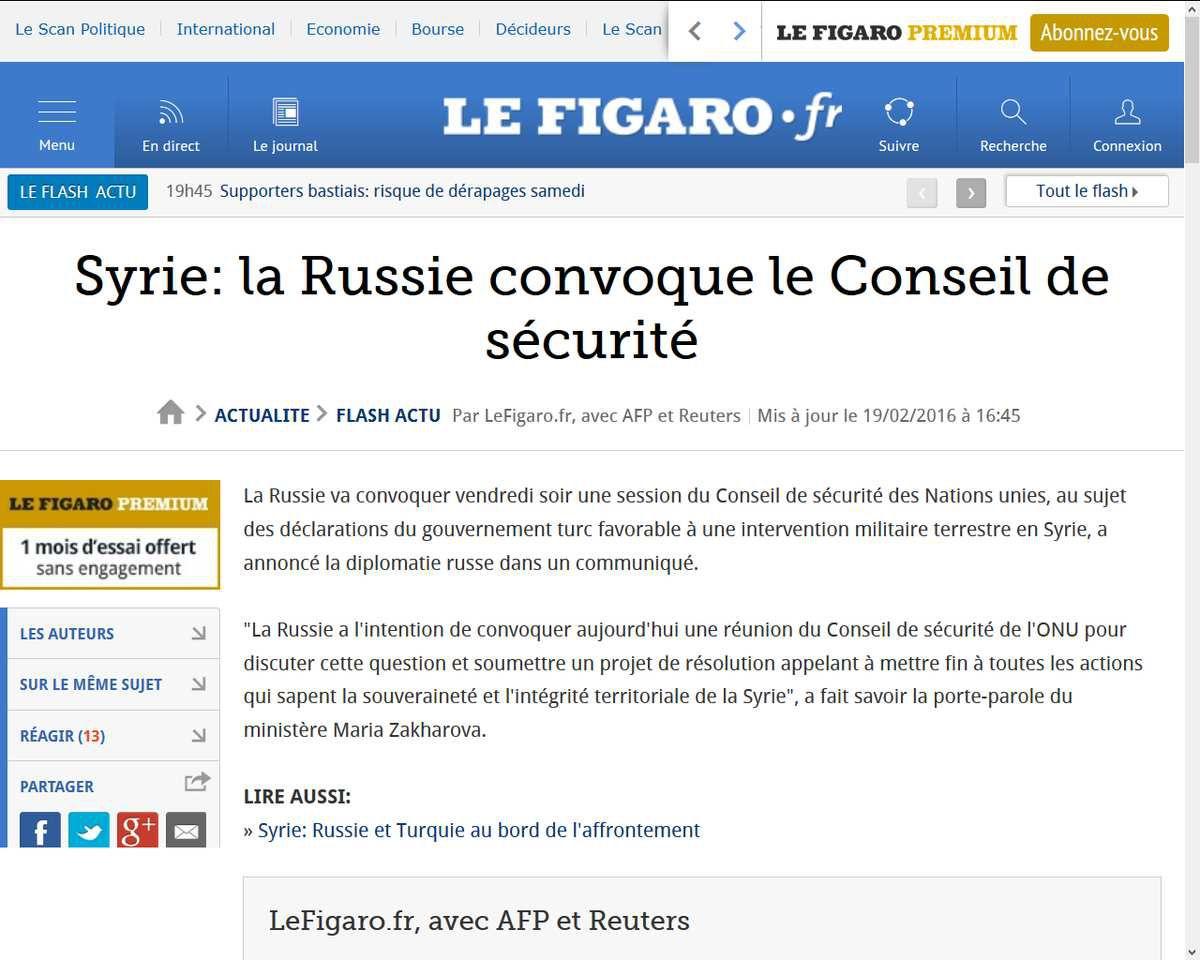 Syrie: la Russie convoque le Conseil de sécurité