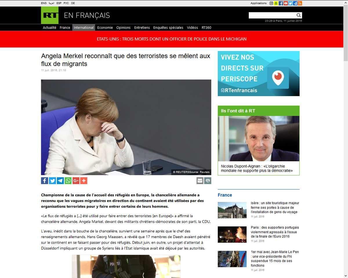 Angela Merkel reconnaît que des terroristes se mêlent aux flux de migrants