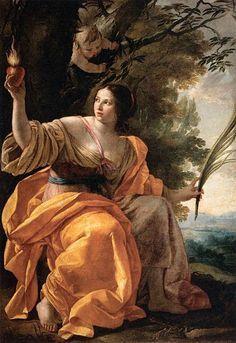 Sainte Marguerite, Charité Paradisiaque - Peinture Simon Vouet - Baroque
