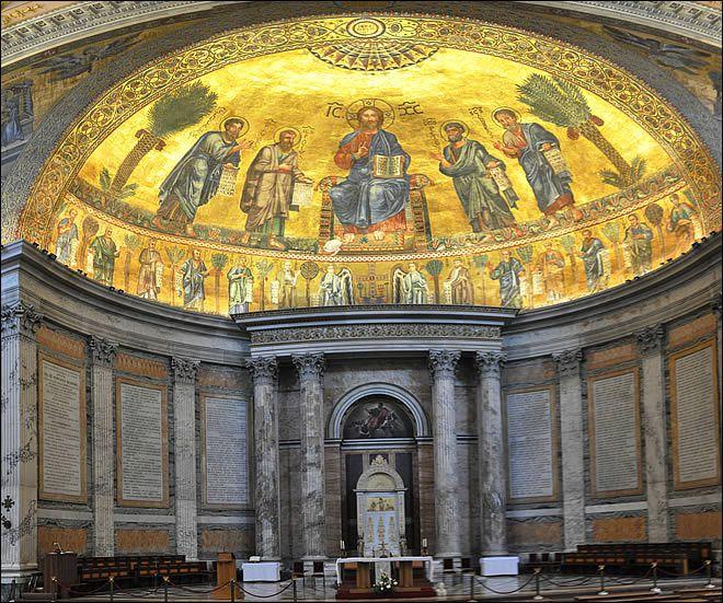 Abside de la basilique Saint-Paul-hors-les-murs - Christ bénissant entouré de saints