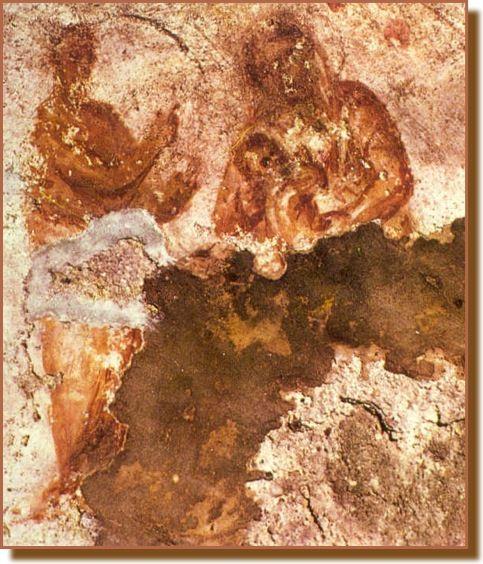 La Vierge à l'Enfant. Catacombe de Priscille à Rome, IIe siècle