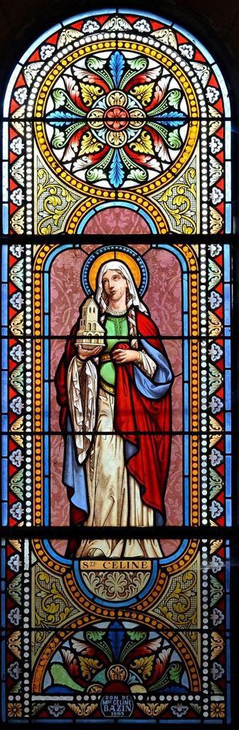Vitrail Sainte Céline ( 1903 ) - église Saint-Mazeran - Broût-Vernet - 03