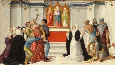 Sainte Catherine de Sienne exorcisant une femme possédée, Girolamo di Benvenuto, 1500-10, musée d'art de Denver
