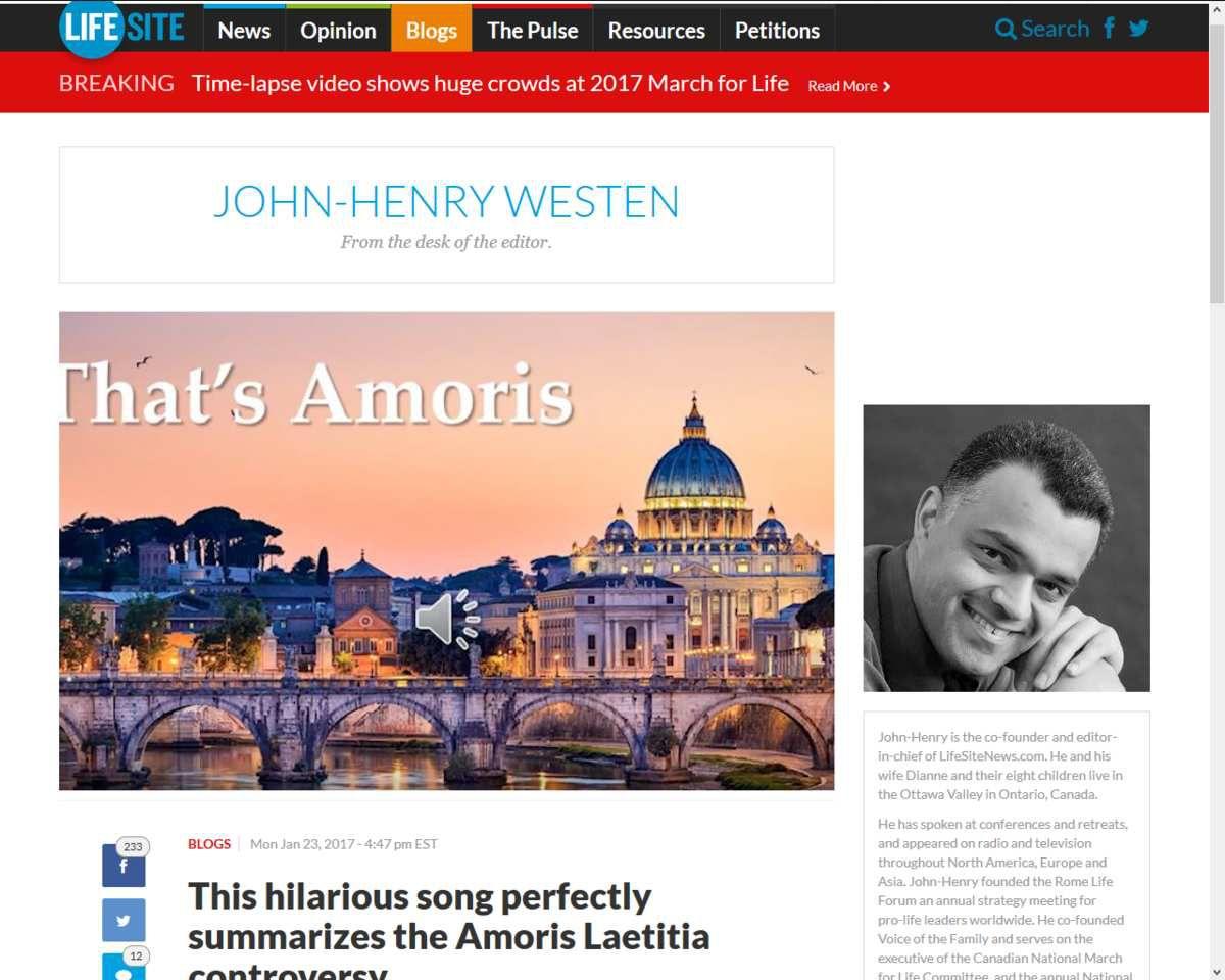 """""""That's Amoris"""" - C'est Amoris : Une chanson humoristique résume parfaitement la controverse d'Amoris Laetitia"""