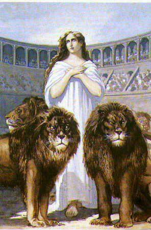 Sainte Blandine martyr, gouache, fin XIXe siècle, anonyme