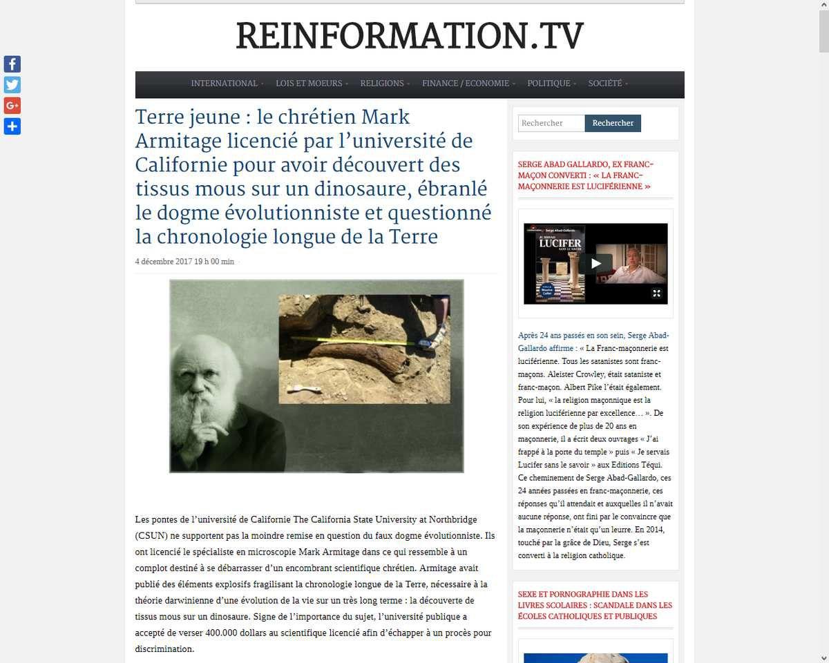 Terre jeune : le chrétien Mark Armitage licencié par l'université de Californie pour avoir découvert des tissus mous sur un dinosaure, ébranlé le dogme évolutionniste et questionné la chronologie longue de la Terre