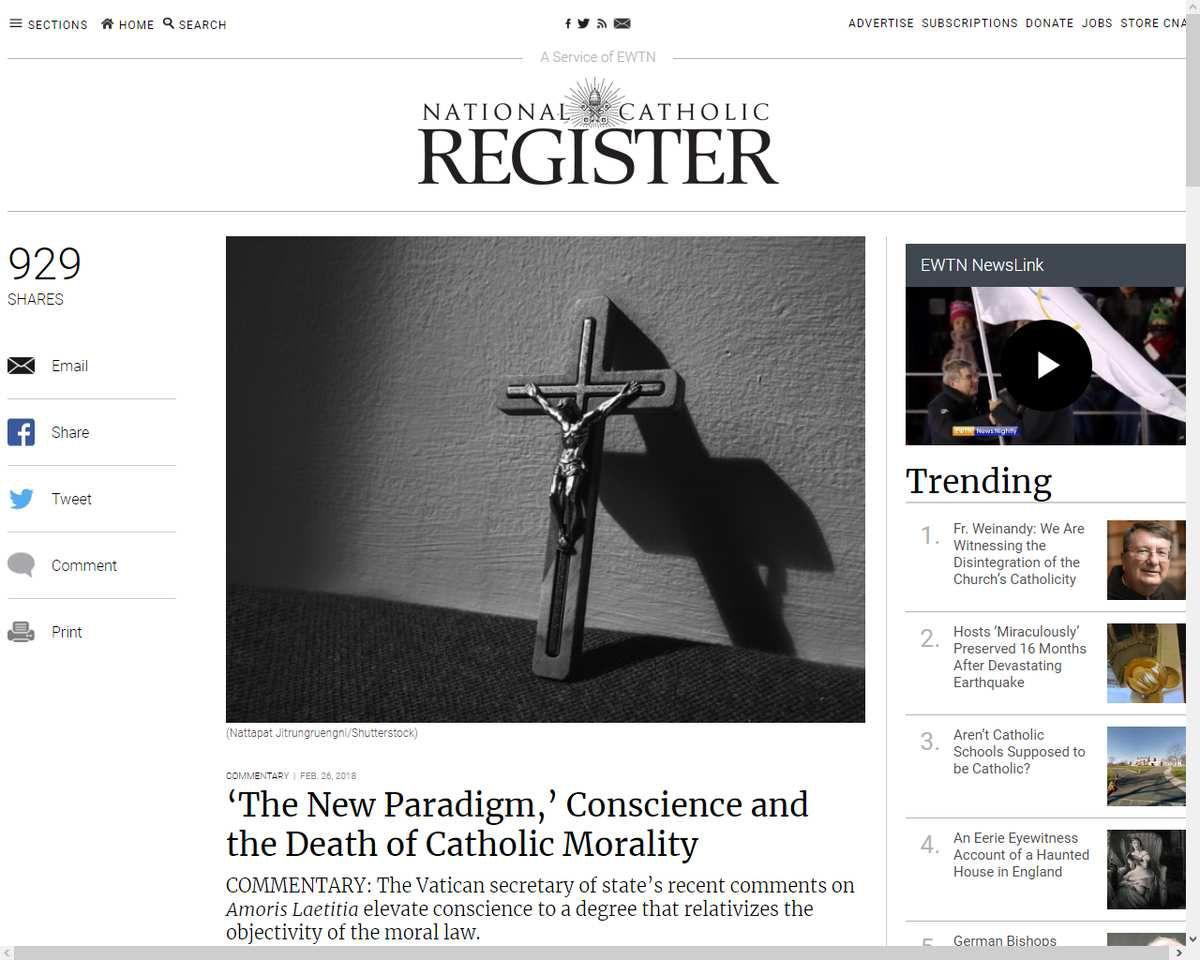 Le nouveau paradigme, la conscience et la mort de la morale catholique