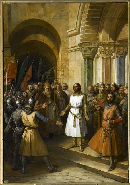 Godefroy de Bouillon élu roi de Jérusalem, 23 juillet 1099, accepte le tire d'Avoué du Saint-Sépulcre. Federico Madrazo y Kuntz (1838)