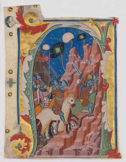 Initial A avec la Bataille des Maccabées, Bologne, Italie, v. 1360–70. Les chrétiens médiévaux ont considéré les Maccabées, Juifs qui ont rétabli le temple de Jérusalem au culte juif, comme prototypes des croisés chrétiens qui se sont battus pour reprendre la ville sainte du contrôle musulman en 1095-1099. Cette page illustre un texte du deuxième livre des Maccabées, qui aurait été chanté pendant le culte dans un monastère.