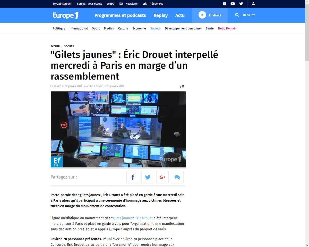 Gilets jaunes : Éric Drouet interpellé alors qu'il allait rendre hommage aux personnes blessées et décédées lors du mouvement !